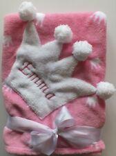 Pinke Baby Kuscheldecke Mädchen mit Krone u Namen bestickt 75 x 100 cm