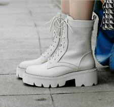 Womens Ladies Fashion Leather Lace Up Chunky Heel Combat Ankle Boots Shoes GSMA