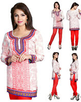 UK STOCK Red Indian Pakistani Printed Short Kurti Tunic Kurta Top Dress 128C