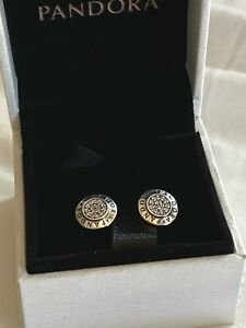 NEW Authentic PANDORA Sparkling Logo Signature Stud Earrings #290559CZ w/ BOX