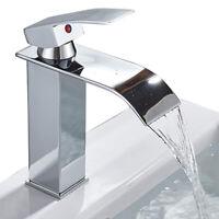 Single Handle 1Hole Bathroom Sink Faucet Vanity Waterfall Chrome Basin Mixer Tap