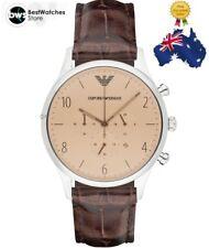Emporio Armani Classic Chrono Champagne Dial Brown Crocodile Leather Men's Watch