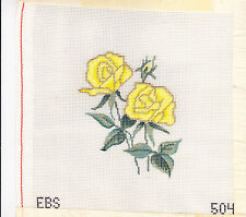 Needlepoint Kit:  Yellow Roses for Embroidery Floss 7 x 7 in. 18 mesh