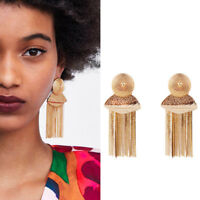 Vintage Women Gold Plated Round Tassel Chain Fring Long Dangle Ear Stud Earrings