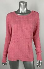 Talbots Petites Womens Sweater XLp Lambs Wool Pink Cable Knit Buttons Long Slv