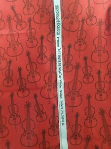 Red guitar fabric 100% cotton