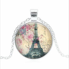 Eiffel Tower with Pink Tibet silver Glass dome Necklace chain Pendant Wholesale