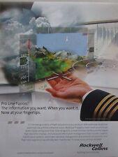 10/2007 PUB ROCKWELL COLLINS AVIONICS PRO LINE FUSION FLIGHT DECK ORIGINAL AD