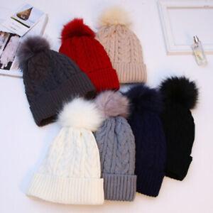 Fur Pompom Hat Warm Fleece Inside Beanie Hats Winter Mink Raccoon Women Cap