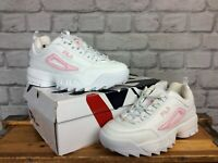FILA UK 5.5 EU 39 DISRUPTOR II WHITE PINK PATENT FLAG TRAINERS CHILDRENS LADIES