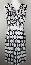 Rafaella Sleeveless Polka Dot Fitted Women's 8 Dress Black White V-neck Flounce