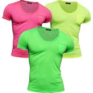 Men's V-Neck Summer T-Shirt Vivid Colours Slim Fit Cotton Size SMALL SALE !!