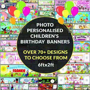 Personalised Photo Birthday Banners Childrens Animated 70+ Designs Waterproof