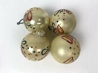 Glitter Red and Green Bells White Christmas Ornaments Lot of 4 Holiday Time Vtg