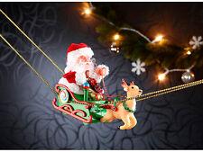 Weihnachtsmann im schwebenden Schlitten mit Musik Weihnachten Dekoration NEU