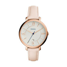 "Fossil ES3988 ""Jacqueline"" Rose-Gold-Tone and Pink Leather Strap Watch"