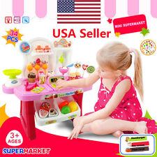 34pcs Pretend Play Mini Supermarket Cash Register Shopping Cart Toys Set Gift US