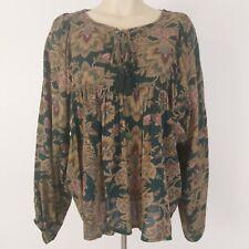Ralph Lauren Denim & Supply Peasant Blouse Size S Green Tan Floral Tassels Boho