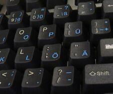 Deutsch Transparente Tastaturaufkleber mit Blauen Buchstaben - für jede Tastatur