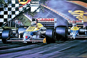 "Nicholas Watts print - ""Williams-Honda Supremacy"" - Mansell / Piquet  w/Remarque"