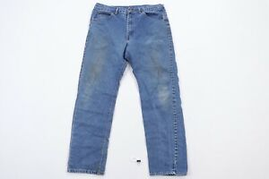 Vintage 80s Lee Mens 36x30 Straight Leg Distressed Denim Jeans Blue USA Made
