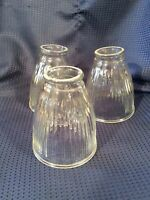 Vintage Clear Glass Lamp Shades Fan Set Of 3 Ribbed
