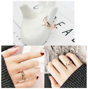 Damenring Rose Rosegold Herz Kette Liebe Titan Ring Perfektes Geschenk NEU