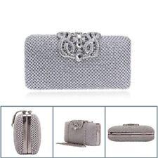 Womens Rhinestone Evening Handbag Clutch Bag Dinner Bag Wedding Purse Silver