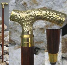Wanderstock Spazierstock Gehstock Flanierstock Hartholz Messing braun Gold