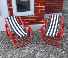 Sling Chairs (2) Very Cool Pool Side Beach Miniatures 1/24 Scale Accessories