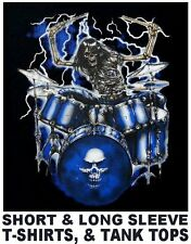 ROCK AND ROLL SKELETON PLAYING HIS DRUMS IN A BAND CONCERT SKULL T-SHIRT WS147