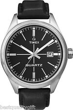 NEW-TIMEX BLACK LEATHER BAND+VINTAGE SILVER DIAL+DATE QUARTZ WATCH-T2N402