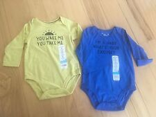 NEW 2 Baby body suits 9 months Funny Long Sleeve Shower Gift