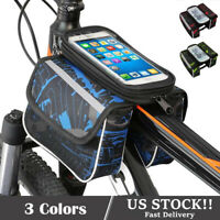Bike Bicycle Bags Front Frame MTB Cycling Waterproof Touch Screen Tube Phone Bag