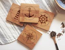 Custom Coasters / Personalized Coaster Set, Nautical Wedding Gift, Engagement