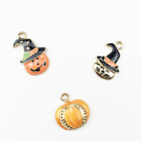 10Pcs Halloween Charms Pumpkin DIY Pendants Necklace Bracelet Jewelry Making