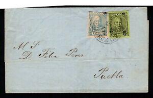 Mexico 19c 1869 wrapper 12c green 25c blue imperfs Vera Cruz to Puebla