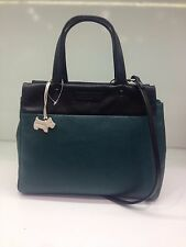 New Radley Eaton Multiway Shoulder Grab Work Bag Black & Green Leather RRP £179