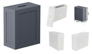 Slimline Shaker Unit Wooden Multi-purpose Bathroom Storage Box Toilet Roll Lid
