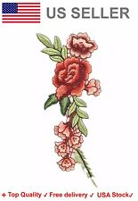 Flower Embroidered Iron On Sew on Patch Rose floral leaves embroidery badge