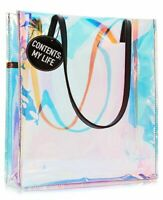 Clear Transparent Holographic PVC Large Tote Bag-Macy's. Contents: My Life NWT