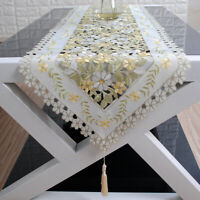 Vintage Embroidered Cutwork Lace Table Runner Wedding Home Decor Floral 40x200cm