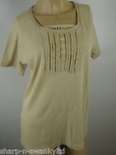 ☆ BNWT NEW Ladies Beige Ruffled Beaded Short Sleeved Top UK 14-16 EU 42-44 ☆