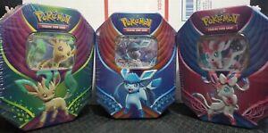 Pokémon Sylveon Leafeon Glaceon GX 3 Tin Bundle Eeveeutions TCG Pokémon Cards