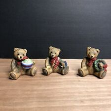 Vintage Flambro Ceramic Christmas Bears- Set Of Three