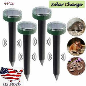 4PCS Solar Power Ultrasonic Sonic Mouse Gopher Mole Pest Rodent Repeller