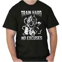 Train Hard No Excuses Motivational Dragon Alien Ninja Gym Classic T Shirt Tee