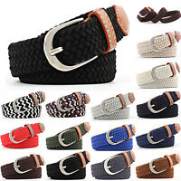 Mens Womens Elasticated Belts Canvas Stretch Elastic Braided Woven Belt Buckle