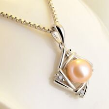 Girl Gift Pendant Necklace Sterling Silver Square Gold Plated Pink Pearl Pendant