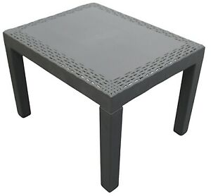 Outdoor Garden Table Black Plastic Rattan Look Rectangle Coffee Table Lightweigh